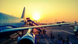 forsinket fly der venter på at lette