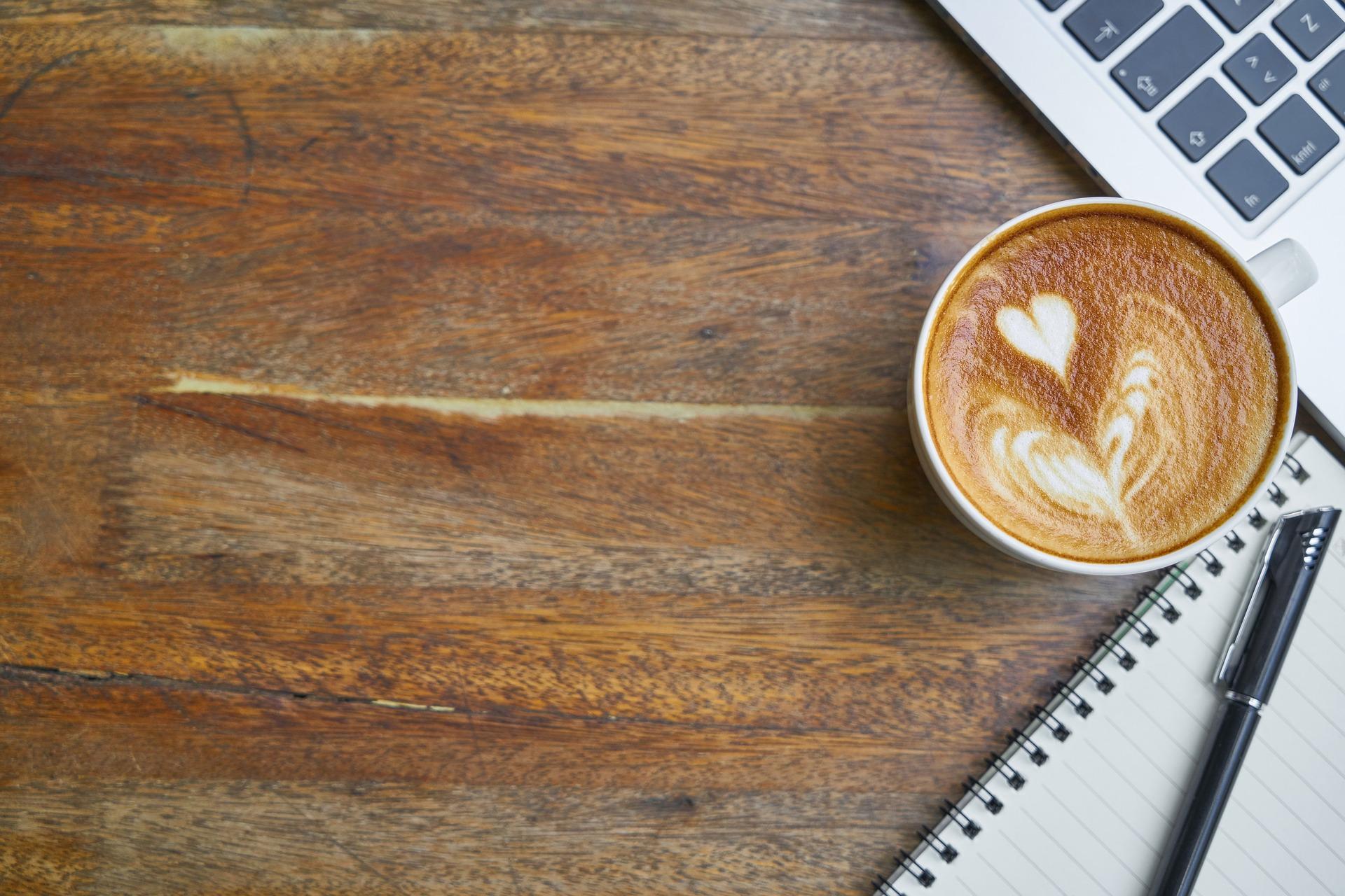 kaffe, bord, computer, arbejde